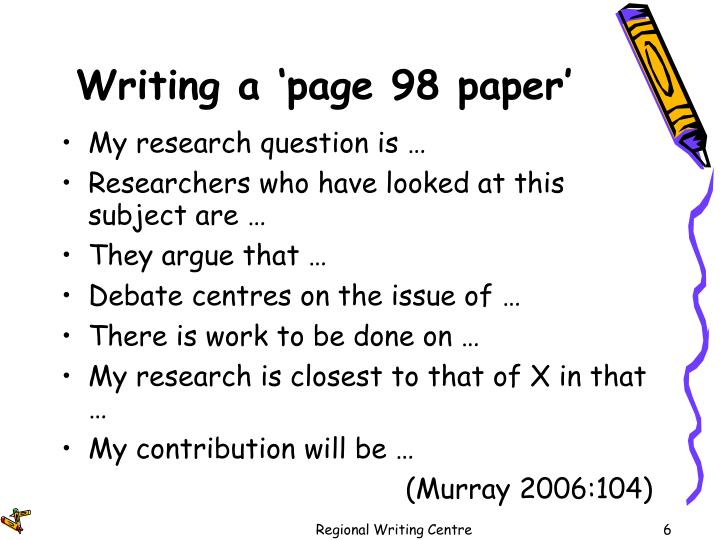 Writing a 'page 98 paper'
