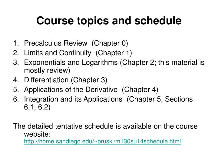 Course topics and schedule