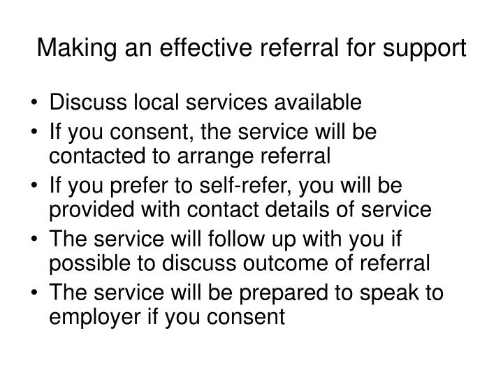 Making an effective referral for support