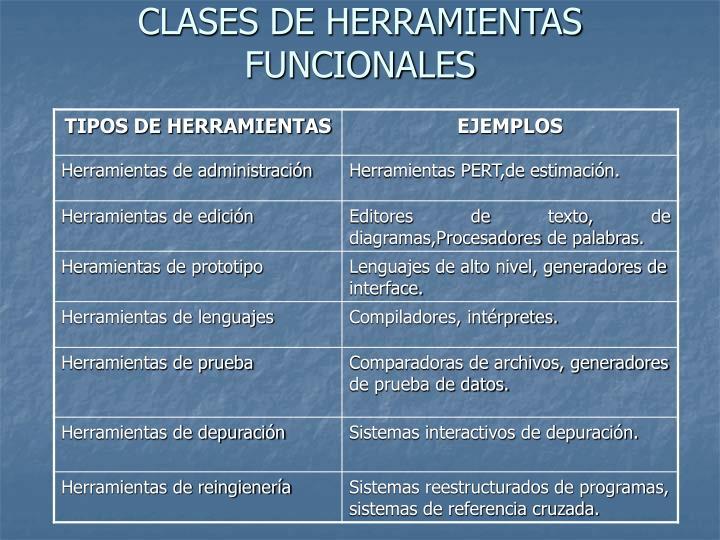 CLASES DE HERRAMIENTAS FUNCIONALES