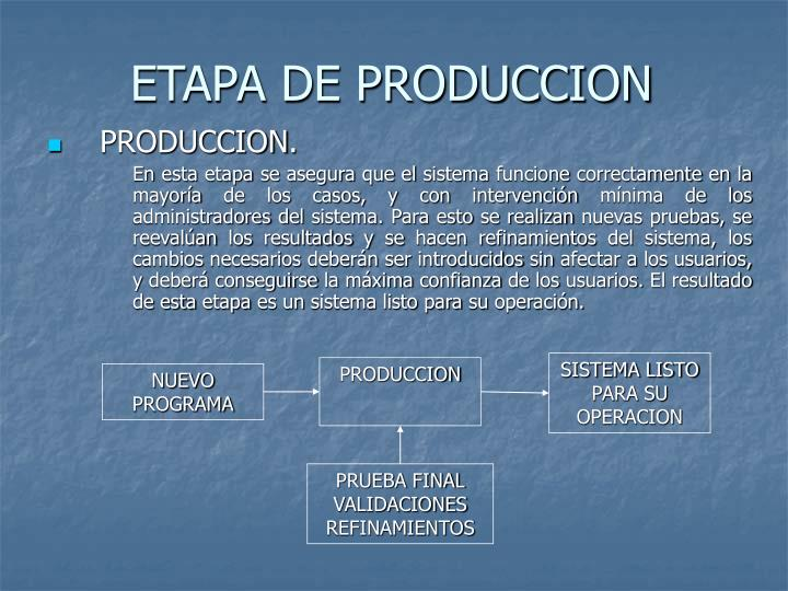 ETAPA DE PRODUCCION