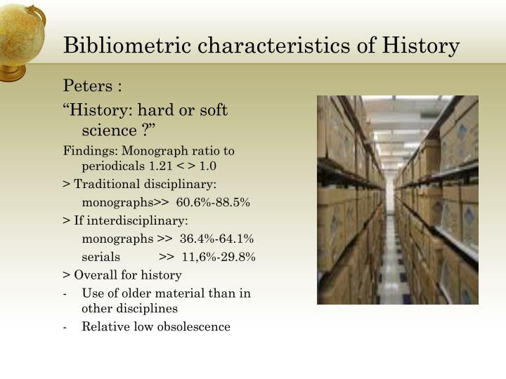 Bibliometric characteristics of History