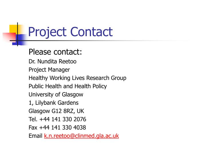 Project Contact