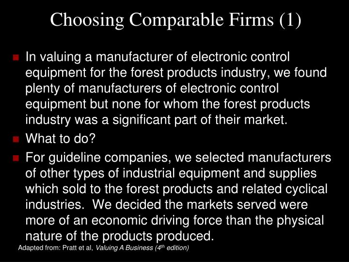 Choosing Comparable Firms (1)