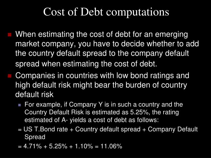 Cost of Debt computations