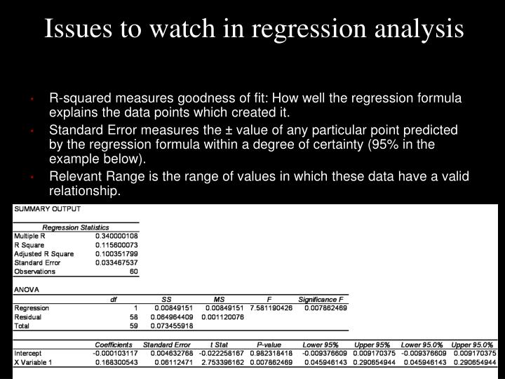 Issues to watch in regression analysis