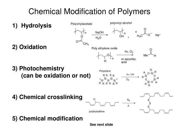 Chemical Modification of Polymers
