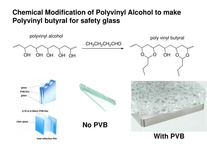 Chemical Modification of Polyvinyl Alcohol to make Polyvinyl butyral for safety glass