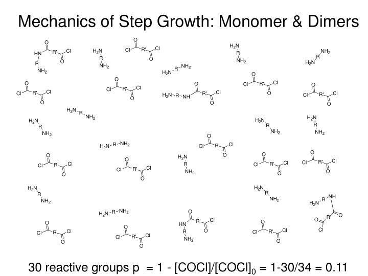 Mechanics of Step Growth: Monomer & Dimers