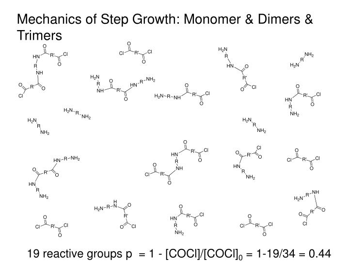 Mechanics of Step Growth: Monomer & Dimers & Trimers