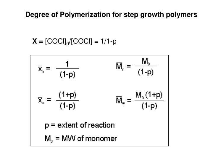 Degree of Polymerization for step growth polymers