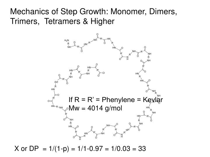 Mechanics of Step Growth: Monomer, Dimers, Trimers,  Tetramers & Higher