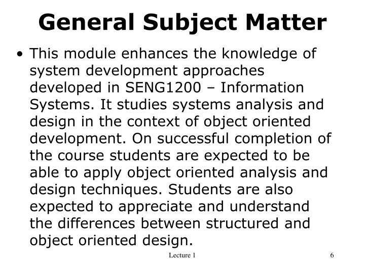 General Subject Matter