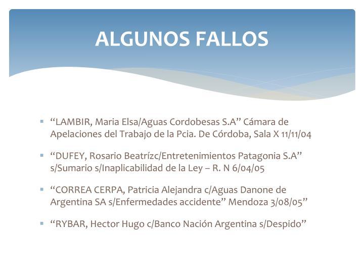 ALGUNOS FALLOS