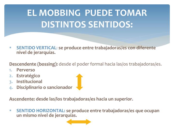 EL MOBBING  PUEDE TOMAR DISTINTOS SENTIDOS: