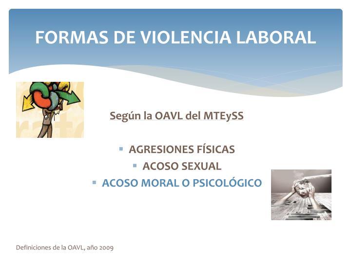 FORMAS DE VIOLENCIA LABORAL
