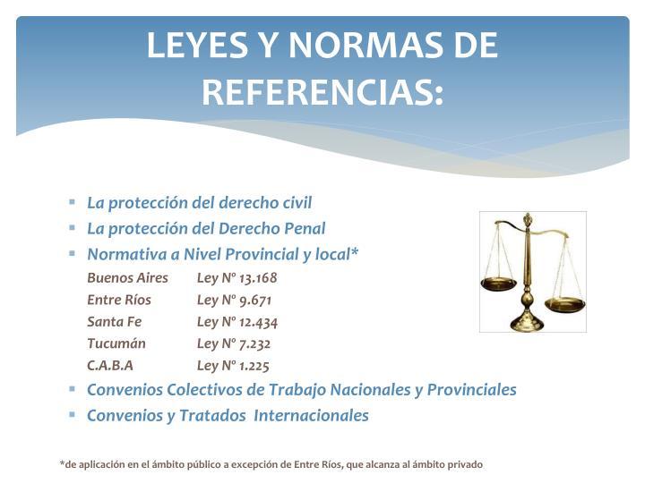 LEYES Y NORMAS DE REFERENCIAS: