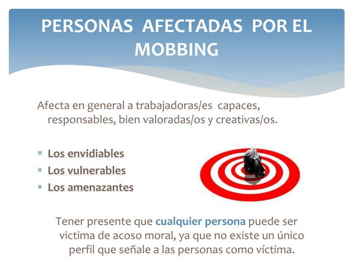 PERSONAS  AFECTADAS  POR EL MOBBING