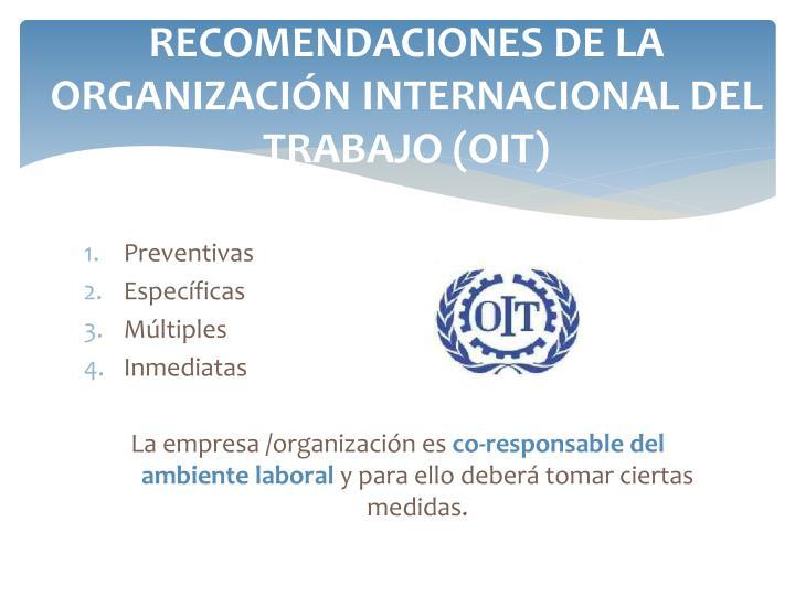 RECOMENDACIONES DE LA ORGANIZACIÓN INTERNACIONAL DEL TRABAJO (OIT)