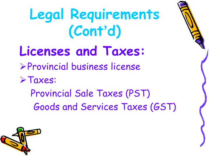 Legal Requirements (Cont