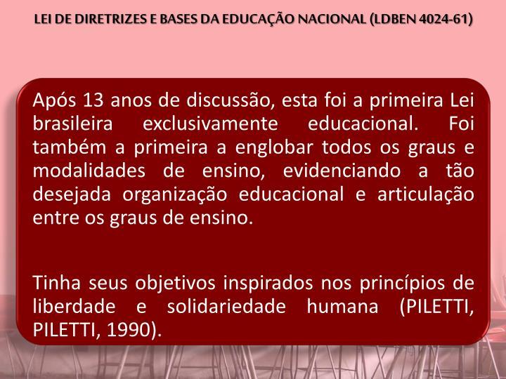 LEI DE DIRETRIZES E BASES DA EDUCAÇÃO NACIONAL (