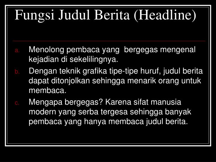 Fungsi Judul Berita (Headline)