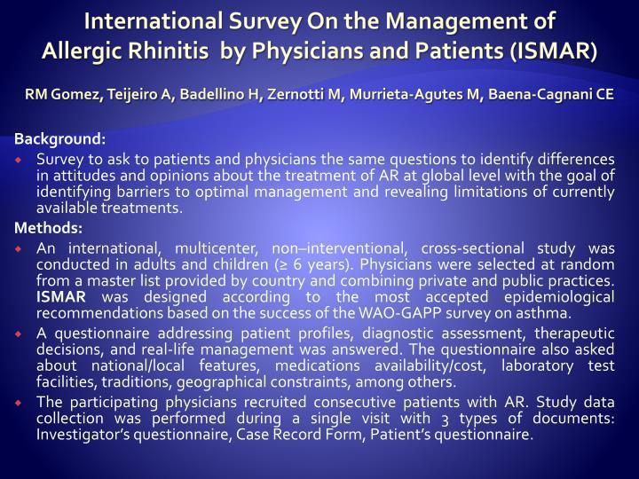 International Survey On the Management of