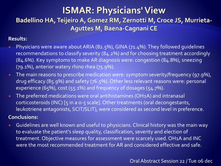 ISMAR: Physicians' View