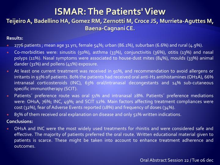 ISMAR: The Patients' View