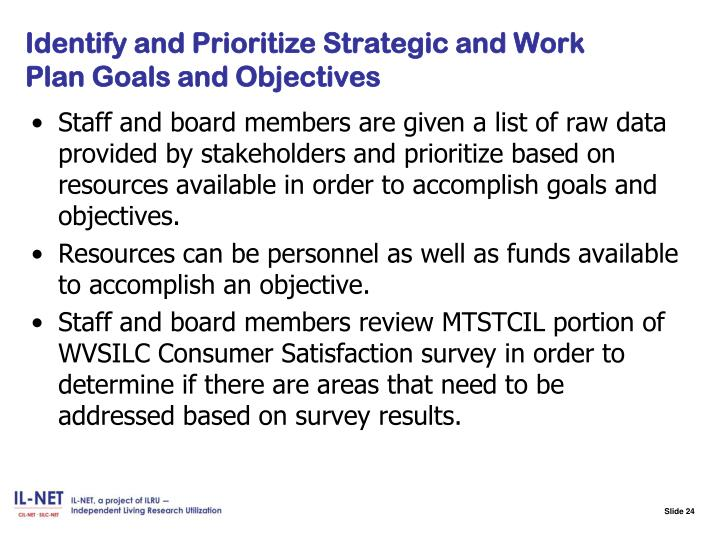 Identify and Prioritize Strategic and Work Plan Goals and Objectives