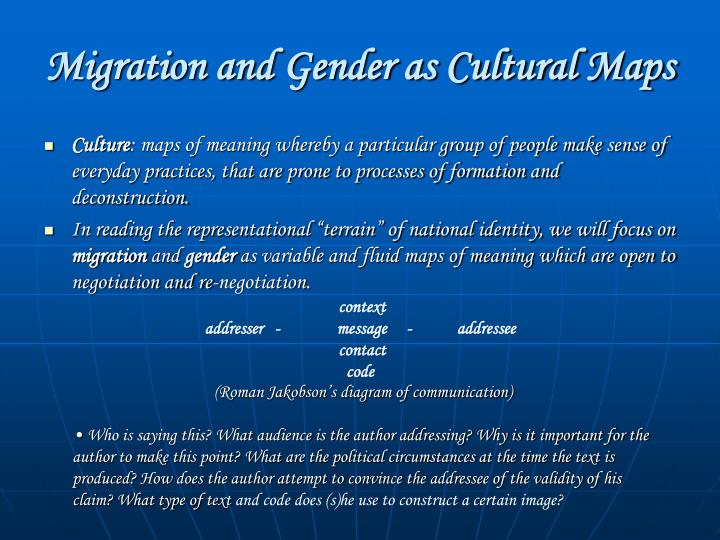 Migration and Gender as Cultural Maps