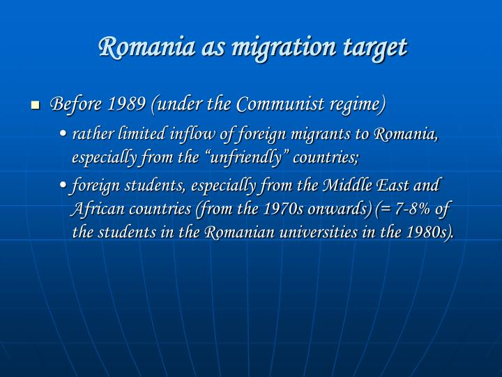Romania as migration target