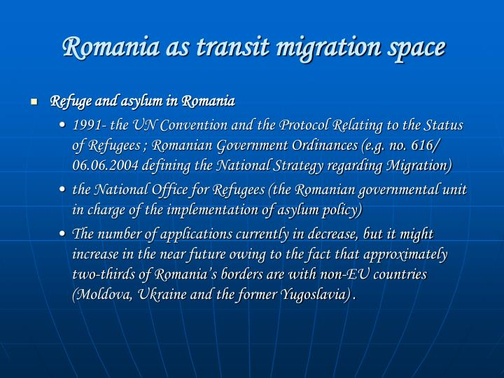 Romania as transit migration space