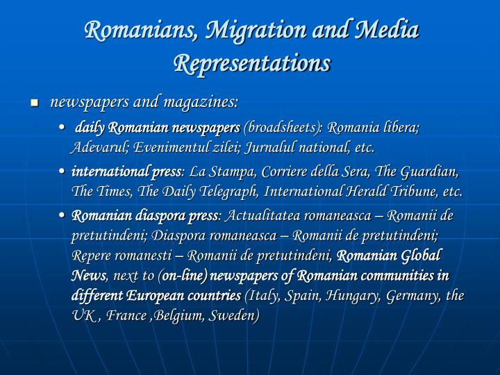Romanians, Migration and Media Representations