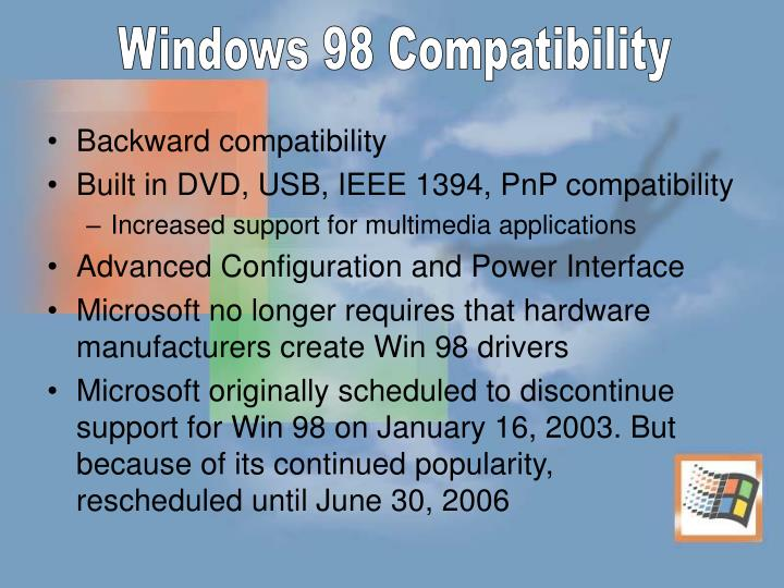Windows 98 Compatibility