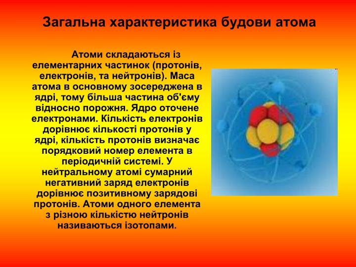 Загальна характеристика будови атома