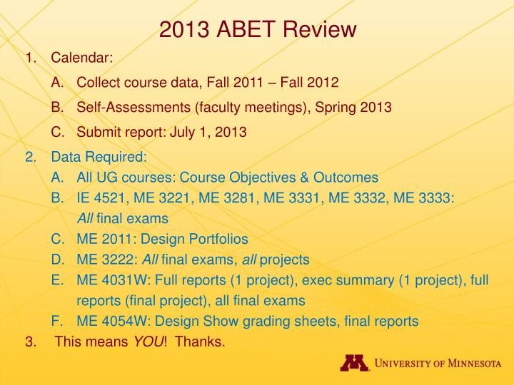 2013 abet review