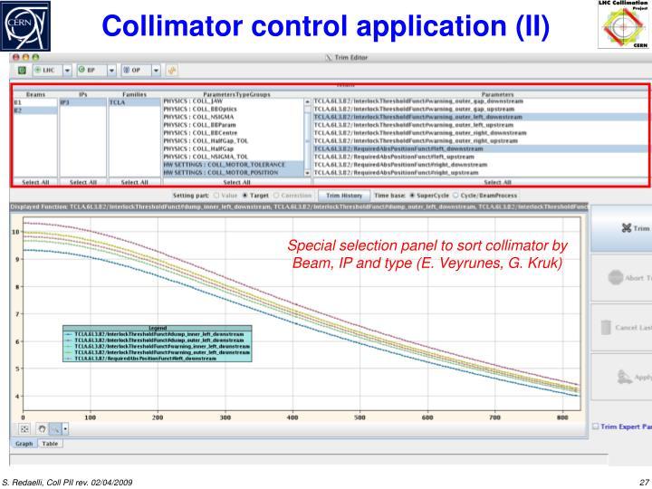 Collimator control application (II)