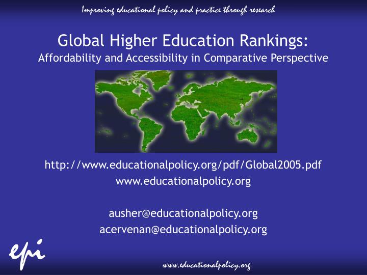 Global Higher Education Rankings:
