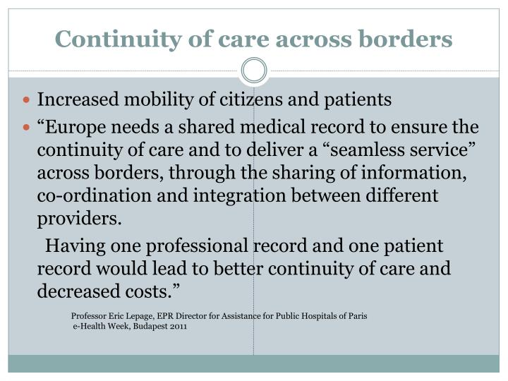Increased mobility of citizens and patients