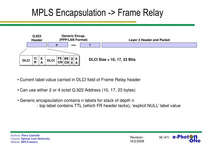 MPLS Encapsulation -> Frame Relay