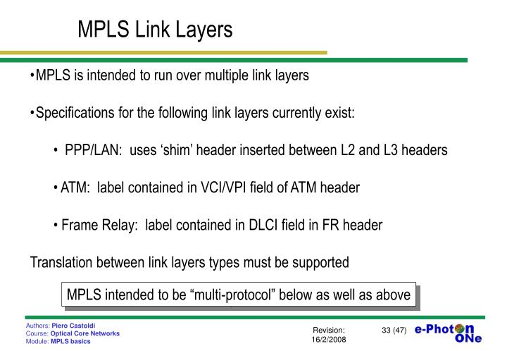 MPLS Link Layers