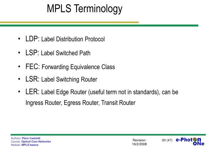 MPLS Terminology