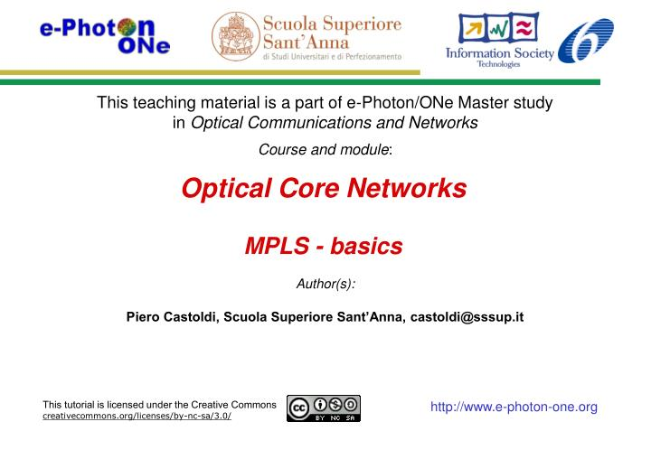 Optical core networks mpls basics