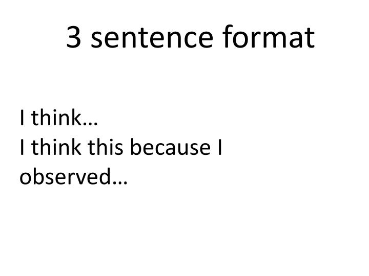 3 sentence format