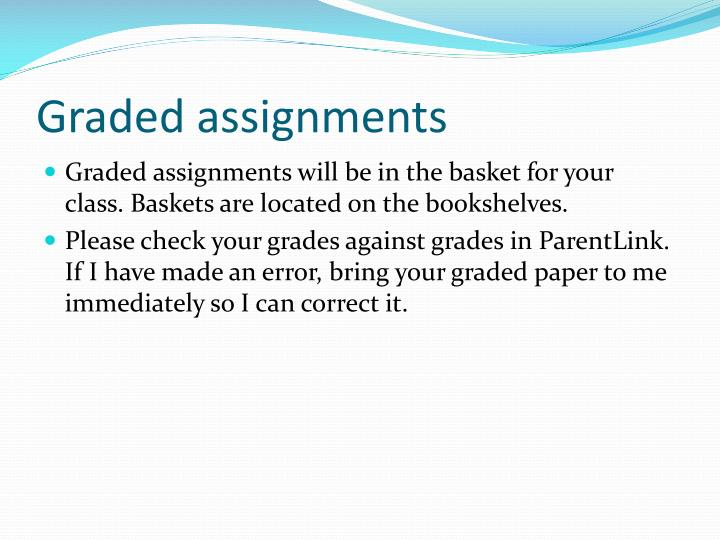 Graded assignments