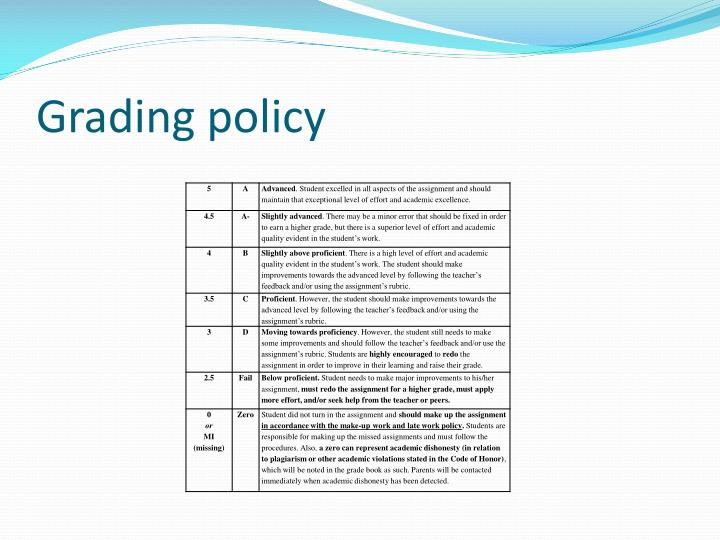 Grading policy