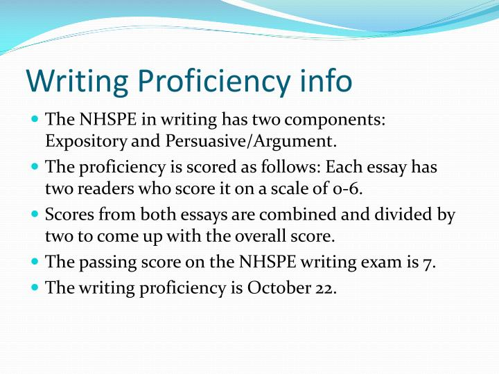 Writing Proficiency info