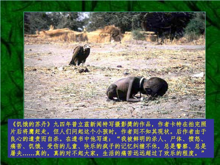 《饥饿的苏丹》九四年普立茲新闻特写摄影獎的作品,作者卡特在拍完照片后将鹰赶走,但人们问起这个小孩时,作者则不知其现状。后作者由于良心的遣责而自杀。在遗书中他写道: