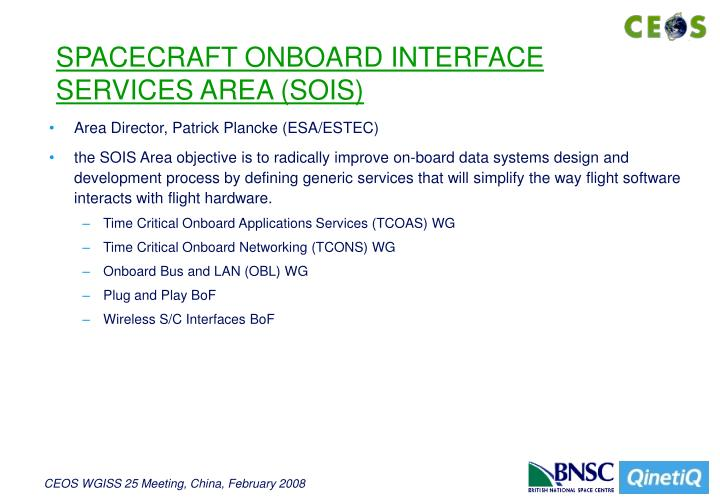 SPACECRAFT ONBOARD INTERFACE SERVICES AREA (SOIS)